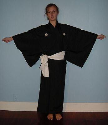 "Vintage Japanese Men's Silk Kimono Five Crested Robe ""Black Formal"""