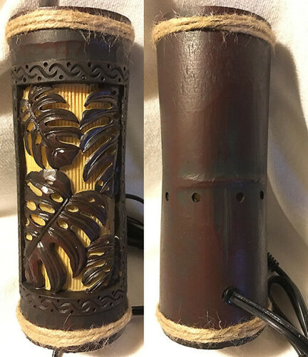 "Hawaiian 9"" Ambient Light Lamp Tiki Bar Monsteras Poly Resin Home Office Decor N"