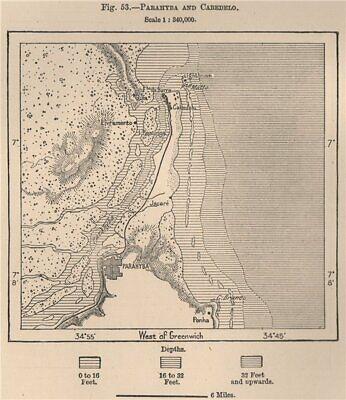 Paraiba (João Pessoa) and Cabedelo. Brazil 1885 old antique map plan chart