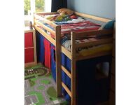Single pine mid sleeper cabin bed