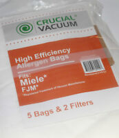 20 off-brand FJM Miele vacuum bags, 4 sets of filters
