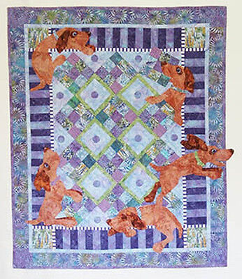 Java House Quilts Ruff Around The Edges Dog Nine Patch Applique Quilt Pattern