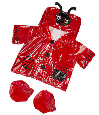 Red Ladybug Ladybird Raincoat Boots outfit teddy bear clothes fits Build a Bear