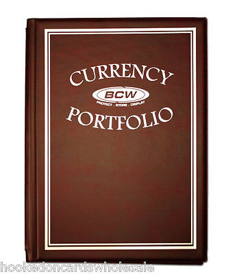 1 BCW Burgundy Currency Portfolio Album 10 Pages included Holds 30 Bills -