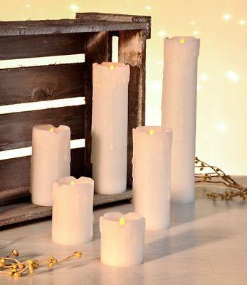 6er Set flammenlose LED Kerzen Wachskerzen Säulenform Echtwachsummantelt ()