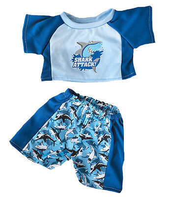 """Shark Swimming Summer Holiday Outfit Teddy Clothes to fit 15"""" build a bear plush"""