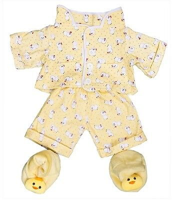 "Yellow chick pyjamas pjs & slippers outfit teddy clothes fit 8""-10"" bears"