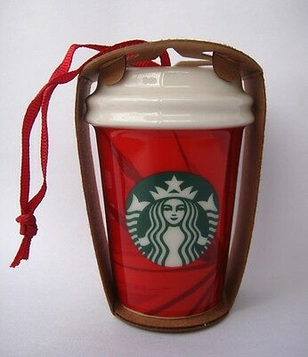 STARBUCKS CHRISTMAS HOLIDAY 2014 CERAMIC RED CUP ORNAMENT