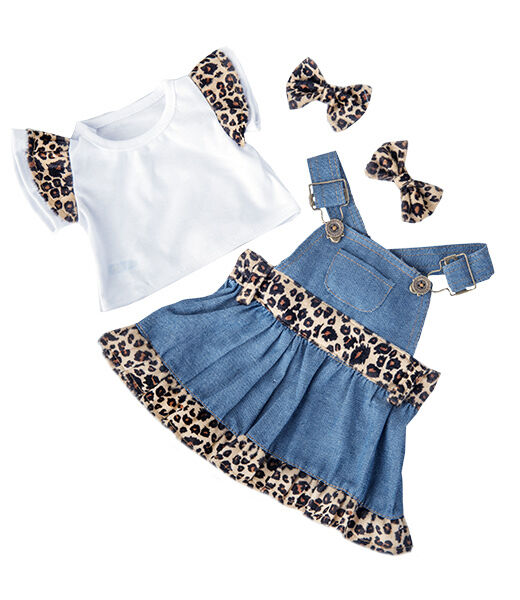 """Denim Leopard outfit top dress earbow outfit teddy clothes fits 15"""" Build a Bear"""