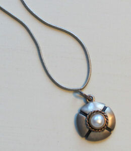 Pewter and Pearl Pendant Necklace