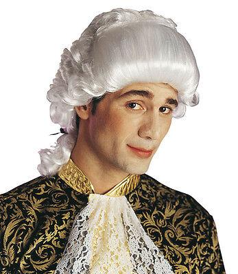 Giacomo Barock Perücke für Herren weiß NEU - Karneval Fasching Perücke Haare ()