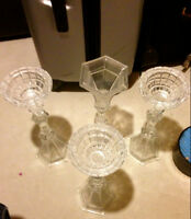 Antique Heavy weight Glass Candle Holders