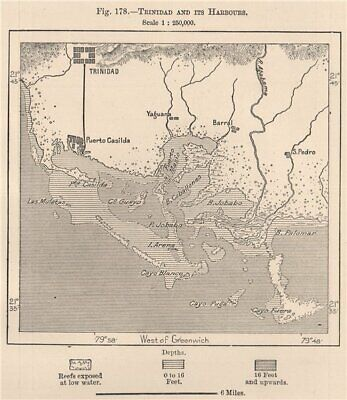 Trinidad and its Harbours. Cuba 1885 old antique vintage map plan chart