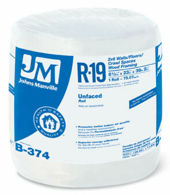 Johns Manville 90003722 Unfaced R-19 Fiberglass Insulation Roll 23 X 392