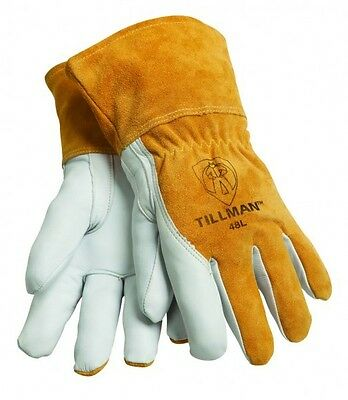 Tillman 48 Medium Mig Welding Gloves Top Grain Goatskincowhide 312 Cuff 1pair