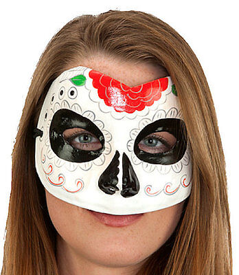 Sugar Skull Paper Mache Mask Hand Painted Floral  - Sugar Skull Halloween Paint