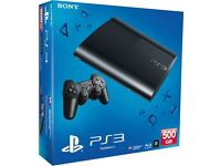 Ps3 super slim 500gb, boxed with controller and games