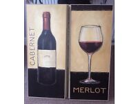 Vintage style decorative pictures / cafe style signs / wine panels