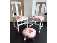 White Red Pink Shabby Chic Rustic Chair