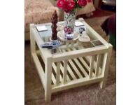 """Laura Ashley """"Henley"""" Solid, White Wood, Glass Top Coffee Table"""