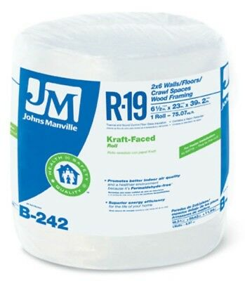 Johns Manville 90003720 Kraft-faced R-19 Fiberglass Insulation Roll 23 X 392
