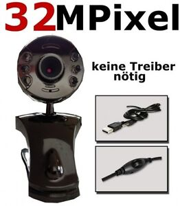 32 Mpixel 6 LED Web Cam mit Mikrofon USB Webcam Kamera PC Notebook Laptop+Mic
