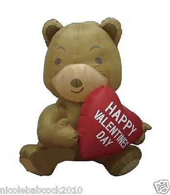 HAPPY VALENTINE'S DAY HEART BEAR AIRBLOWN INFLATABLE YARD DECOR - Valentine Inflatables