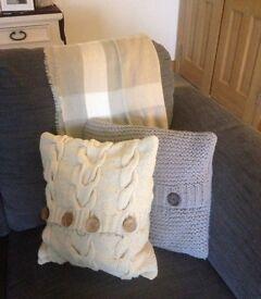 Hand knitted Aran cushions