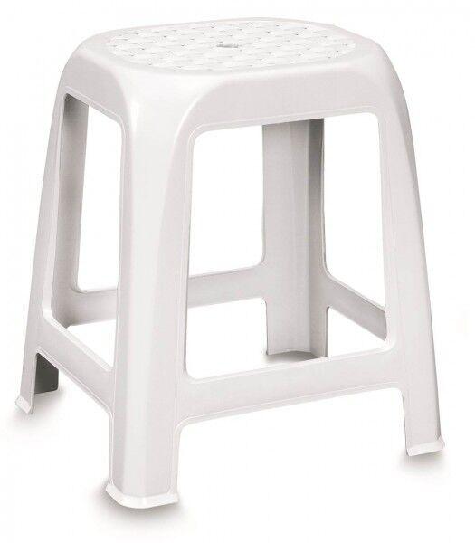 Badhocker Badezimmerhocker Hocker Sitzhocker Fußhocker Kunststoff Weiß Rattan