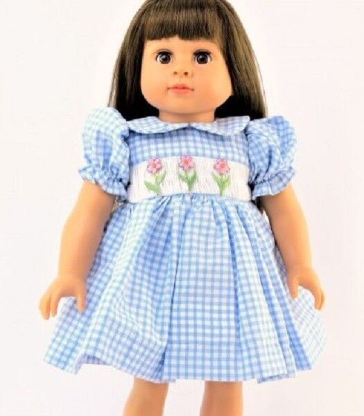 "Smocked Spring Dress Blue Checks and Flowers for 18"" American Girl Doll Clothes"