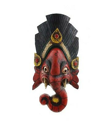 Mask Nepalese of L Himalaya Elephant Dieu Ganesha Wooden Painted GAR3