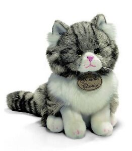 Russ Berrie Yomiko 9'' Sitting Plush GREY TABBY Cat ~NEW~