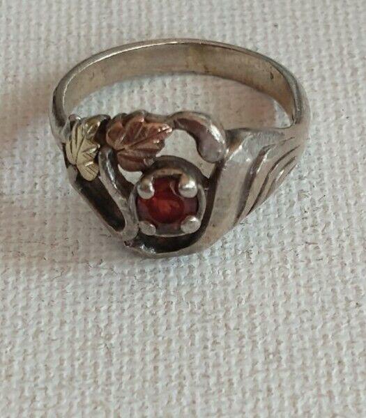Vintage Black Hills Gold Silver Ring