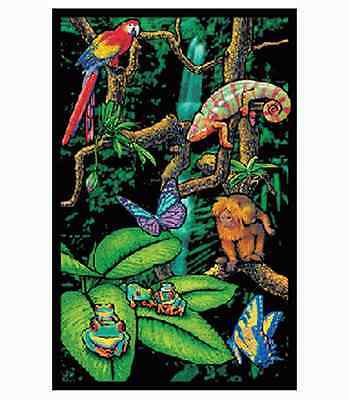 RAINFOREST - BLACKLIGHT POSTER - 23X35 FLOCKED NATURE ANIMALS 52099