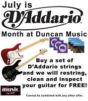 July is D'Addario Month at Duncan Music - FREE GUITAR RESTRING!
