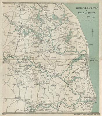 Aylsham CROMER and THE BROADS Antique Map 1903 by Bartholomew; Norwich