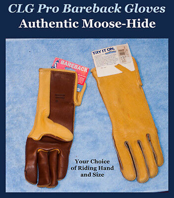 - CLG Moose-Hide Bareback Riding Gloves, Two-Tone Color - Choice of Hand & Size  A