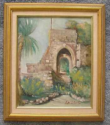 VINTAGE ITALY ITALIAN RIVERIA GARDEN FLOWERS RUINS LANDSCAPE EUROPEAN PAINTING