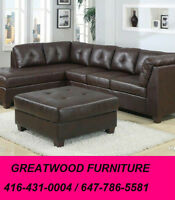 L-SHAPE SOFA WITH FREE STORAGE OTTOMAN....$699