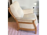 A GREAT LOOKING VINTAGE/RETRO STYLE ERCOL Gina 2 SEATER FABRIC & ASH WOOD SOFA AND MATCHING ARMCHAIR
