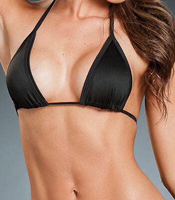 SEXY SKIMPY TINY BLACK MICRO TRIANGLE BIKINI TOP! BRAND NEW! LOOK! MADE IN - Tiny Bikini Top