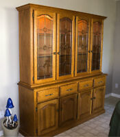 Honey Oak Dining Room Hutch, Table and Chairs