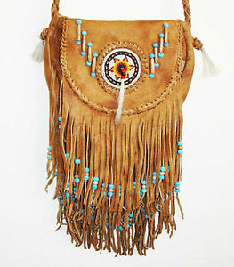 SOUTHWEST INDIAN SADDLE BAG LEATHER PURSE W BEADS & HIPPIE STYLE FRINGE