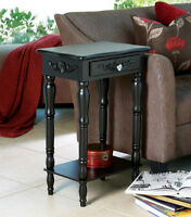 Black Accent End Table With Drawer & Shelf Brand New