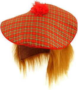 FANCY DRESS TAM-O-SHANTER +HAIR TARTAN SCOTLAND SCOTTISH HAT BURNS NIGHT
