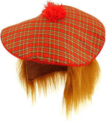 Schottische Scotsmans Tartan Tam O Shanter Hut mit Haar Kostüm - Tam O Shanter Hut Kostüm