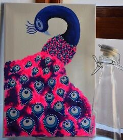Pretty in Pink Peacock: Acrylic painting on canvas - ready to hang.