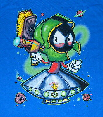 Looney Tunes Marvin the Martian in Spaceship with Ray Gun T-Shirt LARGE UNWORN - Marvin The Martian Ray Gun