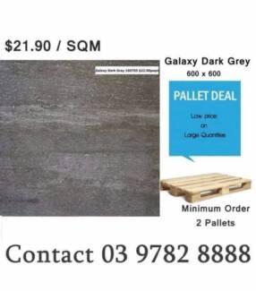 Pallet Deal $21.90sqm Porcelain Tiles 600x600 Galaxy Dark Grey