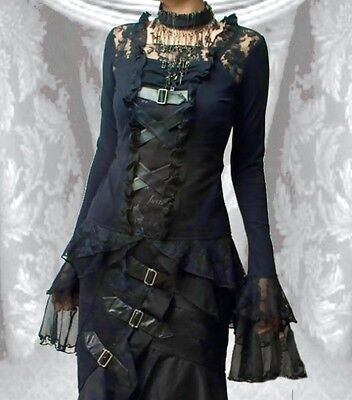 Baumwolle Lace Top (Steampunk Gothic Buckles Lace & Buckle Top)